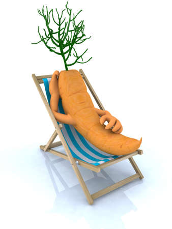 carrot resting on a beach chair, 3d illustration illustration