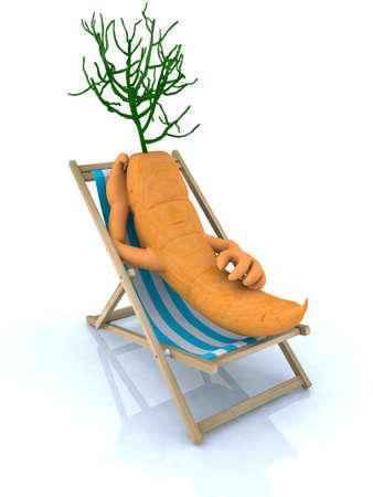 sun tanning: carrot resting on a beach chair, 3d illustration