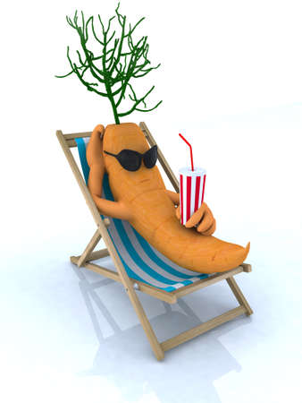 sun tanning: carrot resting on a beach chair, 3d illustration