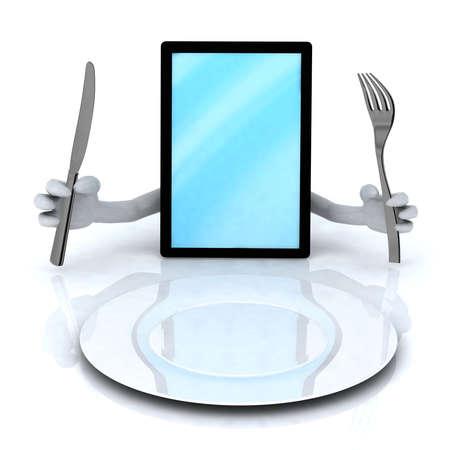 手、空の皿の前で調理器具付きの pc タブレット