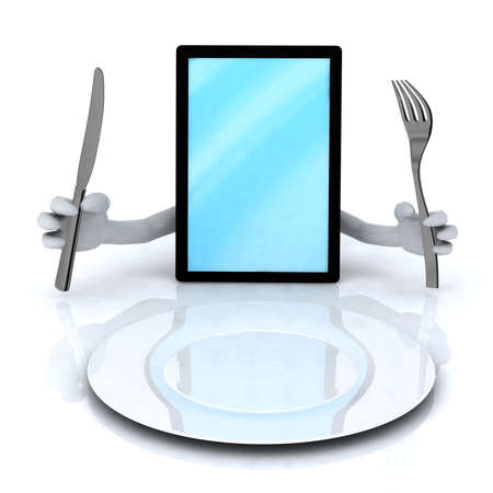 hand holding smart phone: pc tablet with hands and utensils in front of an empty plate Stock Photo