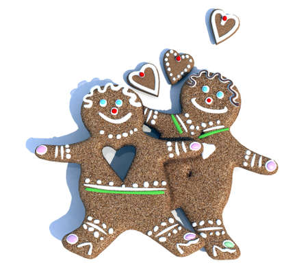 sweet sugar snap: ginger biscuits figure man and woman in love, 3d illustration Stock Photo