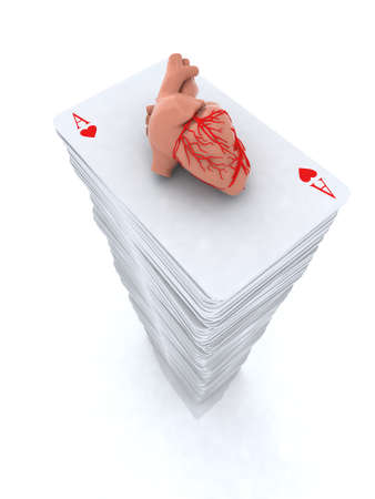 stack Ace playing cards with real human heart close-up Stock Photo - 15817100