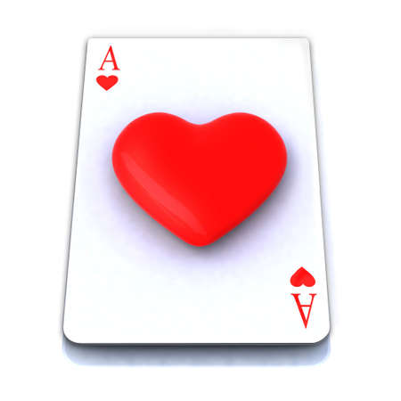 ace playing card with 3d heart in center photo