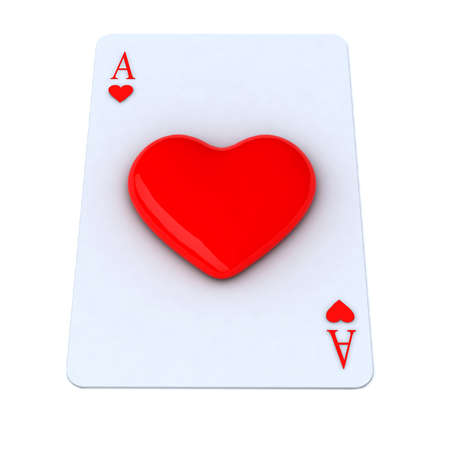 ace playing card with 3d heart Stock Photo - 15817099