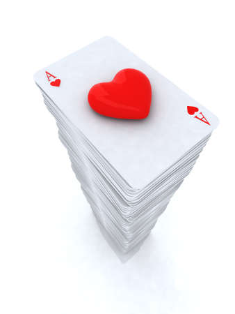 stack Ace playing cards with 3d eart close-up Stock Photo - 15817087