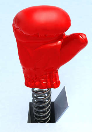 toy box: boxing glove coming out from a hole, 3d illustration Stock Photo