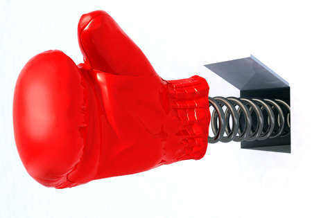 boxing glove coming out from a hole, 3d illustration Stock Photo