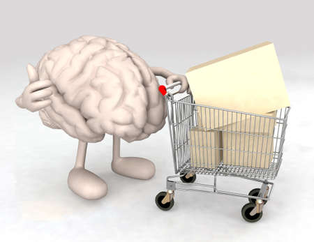 human brain with a shopping cart full of products that makes the gesture of ok