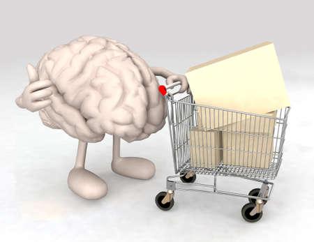 menselijk brein met een winkelwagentje vol met producten die het gebaar van ok maakt Stockfoto