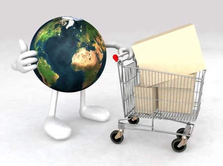 world with a shopping cart full of products that makes the gesture of ok photo