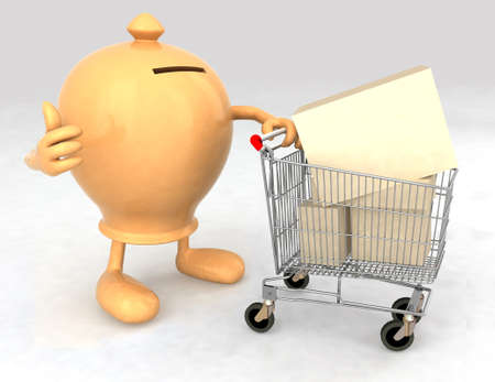 moneybox with a shopping cart full of products that makes the gesture of ok photo