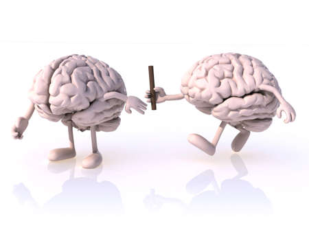relais tussen hersenen, het concept van orgaandonatie of samenwerking, uitwisseling van expertise Stockfoto