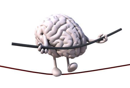 stressful: brain acrobat who walks on a wire, concept of stressful life