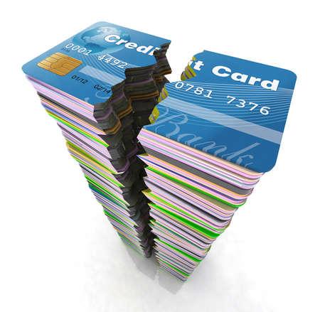 schuld: stapel van creditcards gebroken, concept faillissement, 3d illustratie Stockfoto