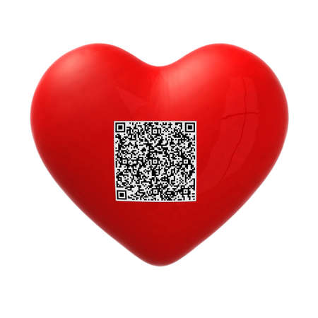 upcode: red heart with qr code, 3d illustration