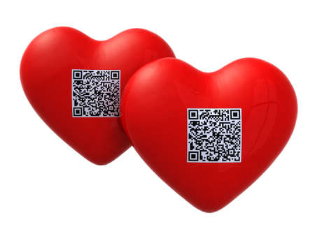 upcode: two red hearts with qr code, 3d illustration