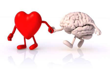 hart en de hersenen die wandelen hand in hand, concept van de gezondheid van het lopen