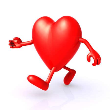 illustration 3d big heart running to keep healthy Stock Photo