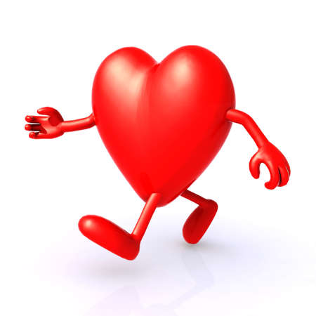 illustration 3d big heart running to keep healthy Archivio Fotografico