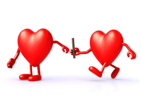 relay between hearts, the concept of organ donation or cooperation, exchange of expertise Archivio Fotografico