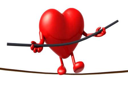 dangerous love: heart acrobat who walks on a wire, concept of a dangerous love
