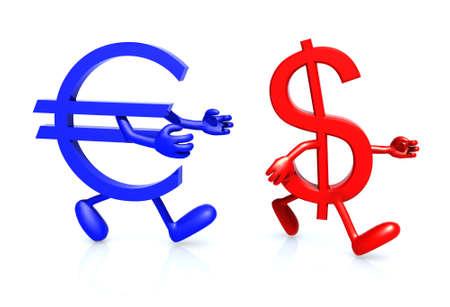 perdidas y ganancias: euro y símbolo de dólar con los brazos y las piernas se ejecutan Foto de archivo