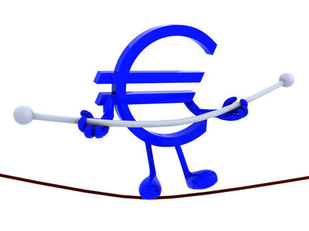 tightrope: symbol euro acrobat who walks on a wire, concept of a dangerous finance, europe crisis