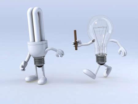 relais tussen gloeilamp en spaarlamp, het concept van innovatie en uitwisseling van deskundigheid Stockfoto