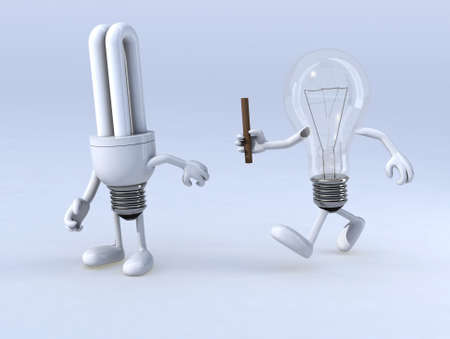 relay between light bulb and cfl bulb, the concept of innovation or exchange of expertise Stock Photo - 15817102