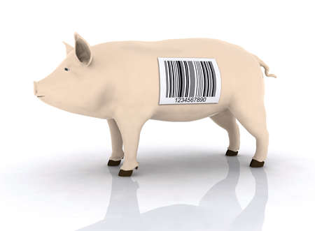 traceability: pig with bar code on the body, 3d illustration