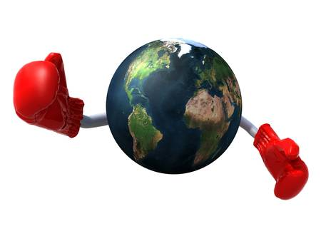 unprotected: planet earth with arms and boxing gloves, 3d illustration