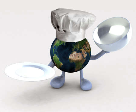 global health: the world cartoon with a restarurant chef hat and dish Stock Photo