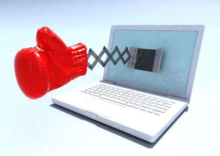 reloj cucu: notebook con el guante de boxeo que sale de la pantalla como un reloj de cuco