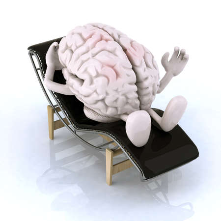 brain that rests on a chaise longue, the concept of relaxing the mind