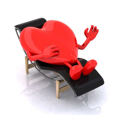 heart that rests on a chaise longue, the concept of relaxing the soul