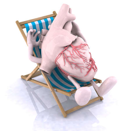 ictus: human heart with arms and legs relaxes in a beach chair