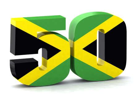 number 50: N�mero 50 hecho con la bandera de Jamaica, el concepto del quincuag�simo aniversario de la independencia de Jamaica