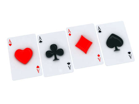 ace playing card with 3d heart in center Stock Photo - 16832481