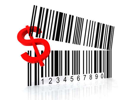 bar code as an open mouth with Dollar symbol photo
