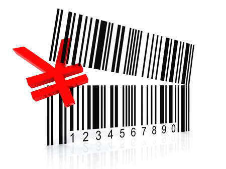 bar code as an open mouth with Yen symbol photo