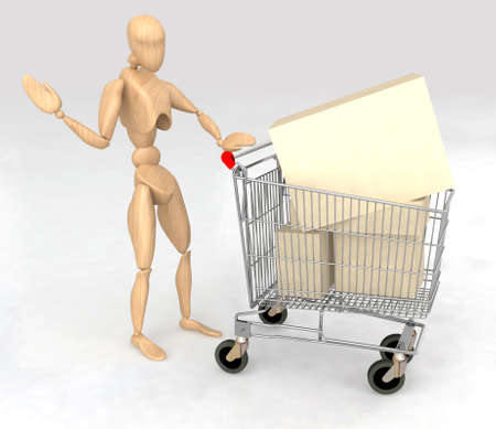 wooden dummy with a shopping cart full of products photo