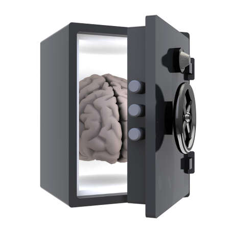 brain protected in a safe, 3d illustration