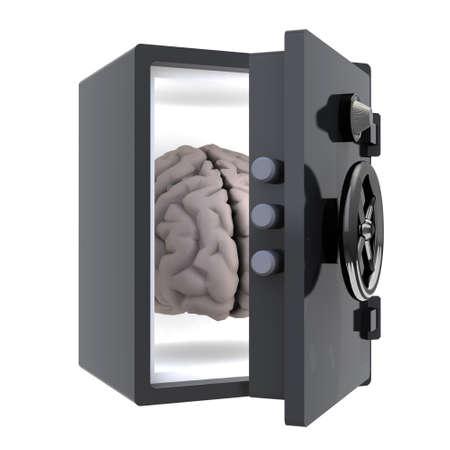 hersenen beschermd in een veilige, 3d illustratie