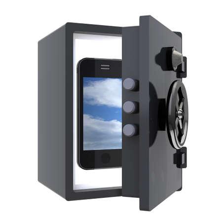 mobile smartphone protected in a safe, 3d illustration Stock Illustration - 16832437