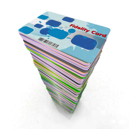 visa credit card: stack of colored fidelity cards, 3d illustration