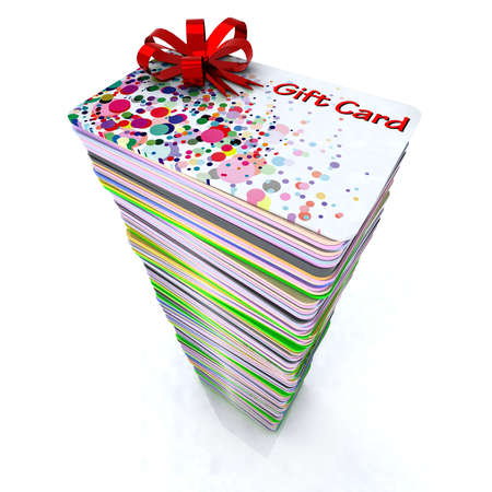 stacks: stack of colored gift cards with red ribbon, 3d illustration