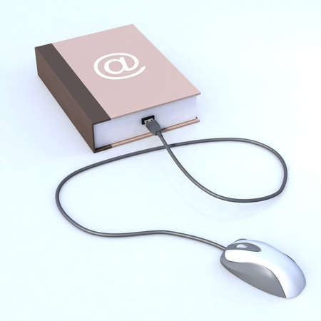 book with mouse connected, electronic book concept photo
