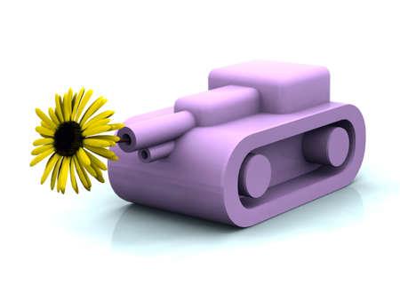 artillery shell: tanque de juguete rosa disparando girasol amarillo paz, concepto Foto de archivo