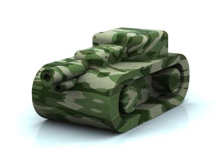 risiko: mimetic toy tank, 3d illustration Stock Photo